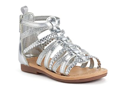 adaaa2d62e087 Amazon.com | Carter's Toddler Girls Silver Smile Sandals Size 5T ...