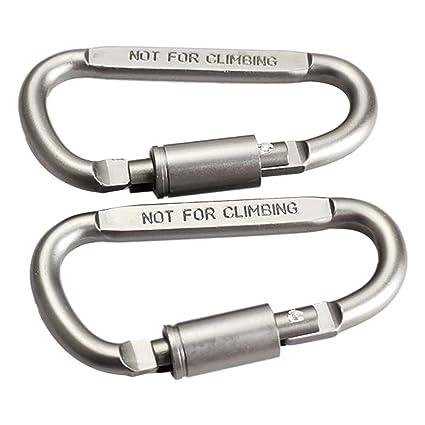 2PCS Outdoor Aluminum D-Ring Screw Locking Carabiner Hook Clip Key Chain  R