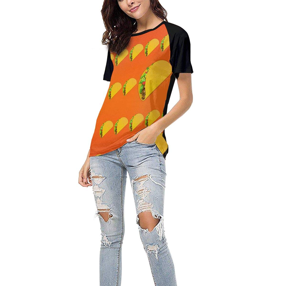 Laki-co Womens Summer Short Sleeve Taco Flying Pattern Casual Raglan Tee Baseball Tshirts Tops Blouse