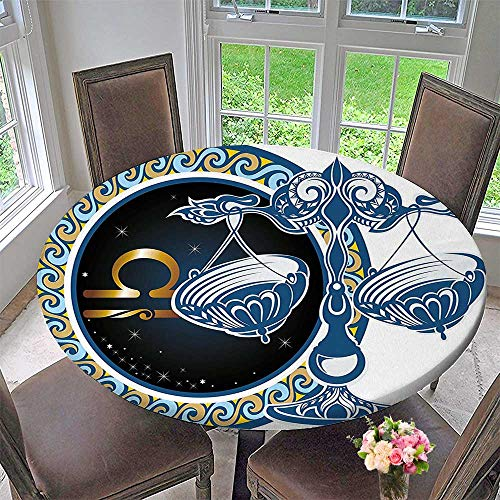 Mikihome Premium Tablecloth Historical Astronomy Icon Libra Pattern with Wheel and Scales Planetary Image Blue Gold Everyday Use 47.5