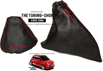 """For Fiat 500 07-15 Gear /& Handbrake Gaiter Ivory Leather /""""500/"""" Embroidery"""