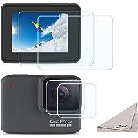 [4 Piezas] Deyard Protector de Pantalla para GoPro Hero 7 White GoPro Hero 7 Silver, Protector de Pantalla de Cristal Templado Ultra Claro + Protector de Lente Accesorios