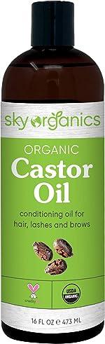 Castor Oil USDA Organic Cold-Pressed (16oz) 100% Pure Hexane-Free Castor Oil