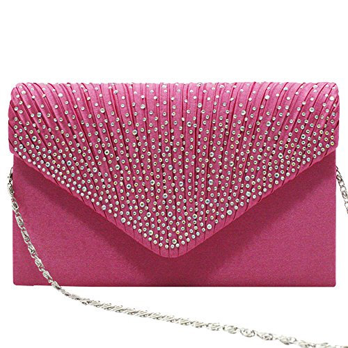 Wedding Women's Hot Bag Evening Lace TM Prom Satin Vintage Bridal Bag Clutch Wocharm Fashion 1 UK Pink 64w86qxz