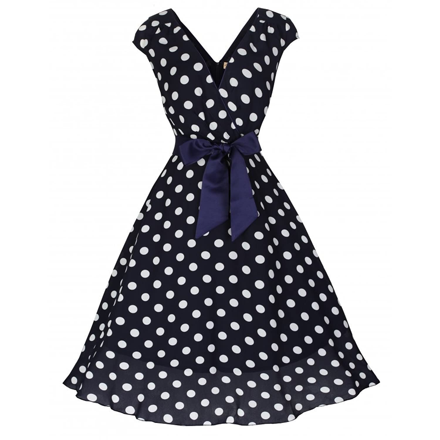 Vintage Polka Dot Dresses – Ditsy 50s Prints Lindy Bop Mary Ellen Navy Polka Dot Swing Dress £19.60 AT vintagedancer.com