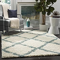 Safavieh Dallas Shag Collection SGD257J Ivory and Light Blue Area Rug (4' x 6')