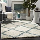 light blue bedroom decor - Safavieh Dallas Shag Collection SGD257J Ivory and Light Blue Area Rug (4' x 6')