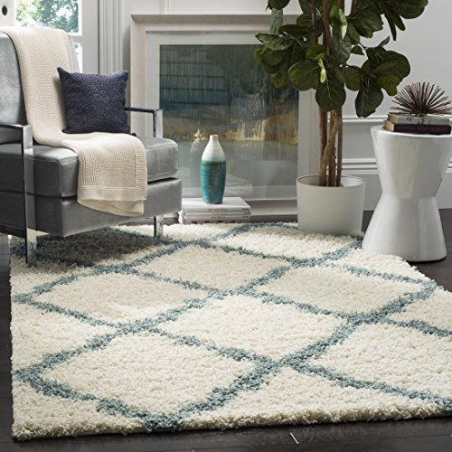 Exceptionnel Safavieh Dallas Shag Collection SGD257J Ivory And Light Blue Area Rug, 8  Feet By 10 Feet (8u0027 X 10u0027)