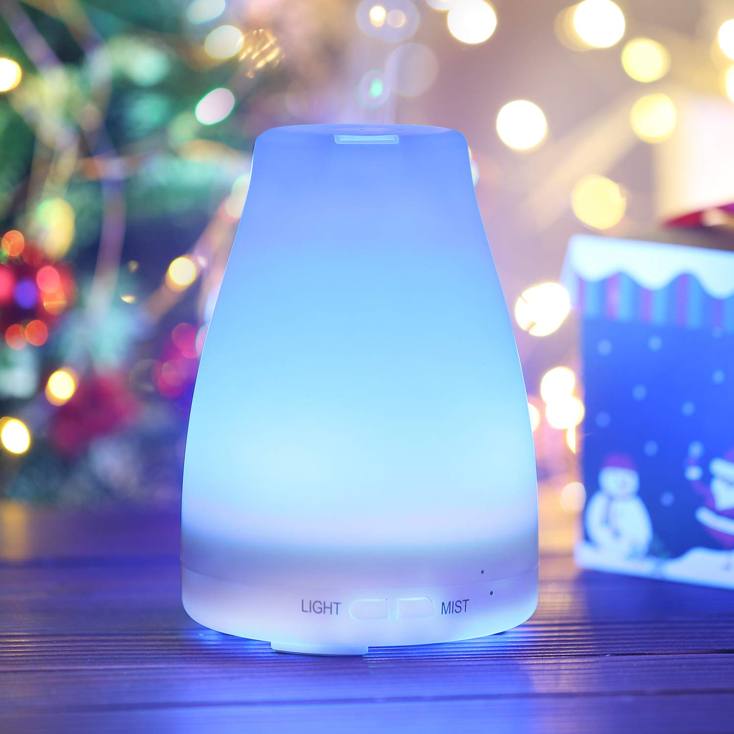 Criacr 100ml Essential Oil Diffuser, Aromatherapy Ultrasonic Mist Air Humidifier with 7 Changeable Colored LED Lights, Adjustable Mist Mode, Waterless Automatically Shut-off, Whisper-Quiet for Home, Yoga, Bedroom