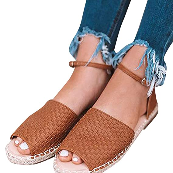 33024b629cafa Amazon.com: Fastbot Women's Summer Sandals Strap Buckle Low-Heeled ...