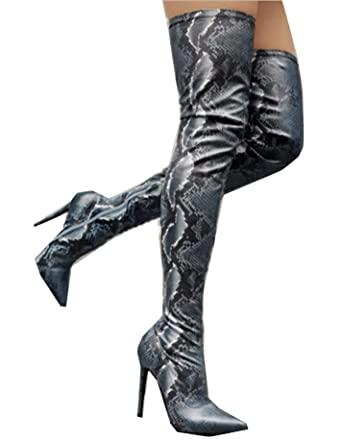 4c6c4248bf212 Amazon.com: Women's sexy python pattern thigh high boots pointed ...