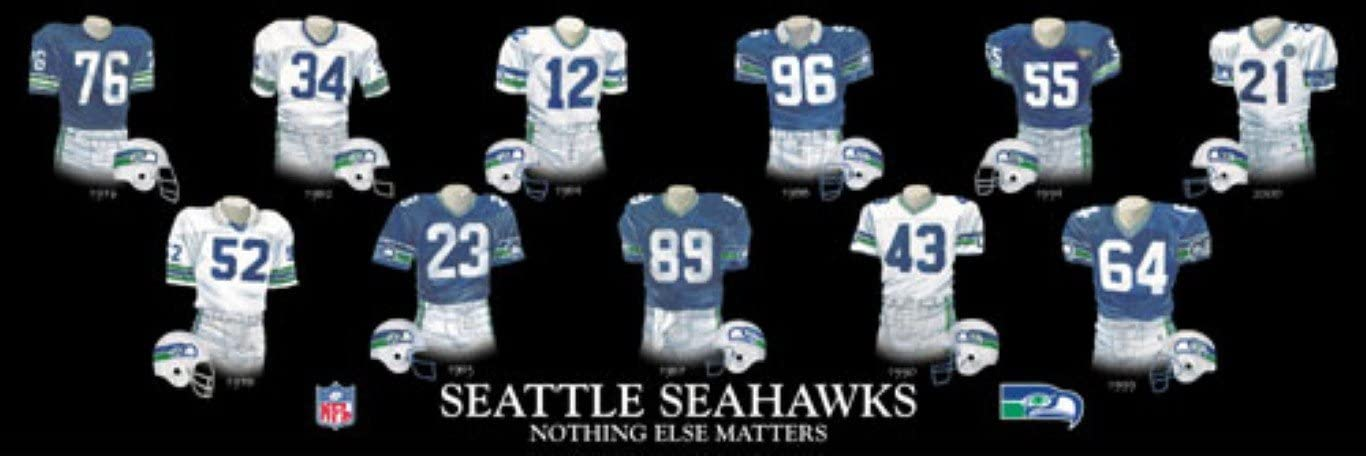 Amazon Com Framed And Matted Evolution History Seattle Seahawks Uniforms Print Posters Prints