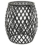 Bohemian Chic Openwork Lattice Design Black Metal Garden Stool / Decorative Accent Stand - MyGift