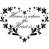 Home Is Where The Heart Is Quote Decal Sticker Wall Floral Art Removable Diy Waterproof Decor Sticker