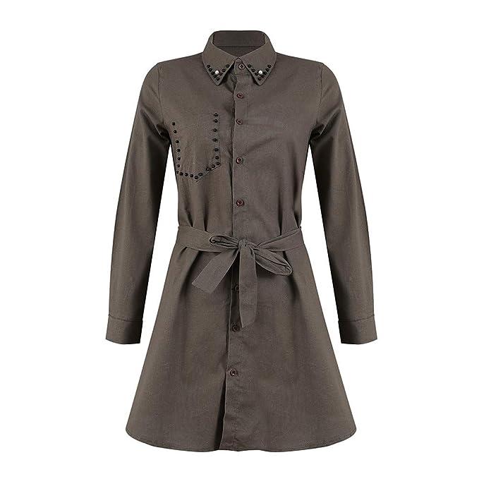 b423e1969179 Kleider Damen Elegant Blusen Tuniken für Damen Shirt Kleid T-Shirt Kleid  Langarmkleid Mantel Strandkleid Lose Einfache Einfarbig Maxikleider Lange  Frauen ...