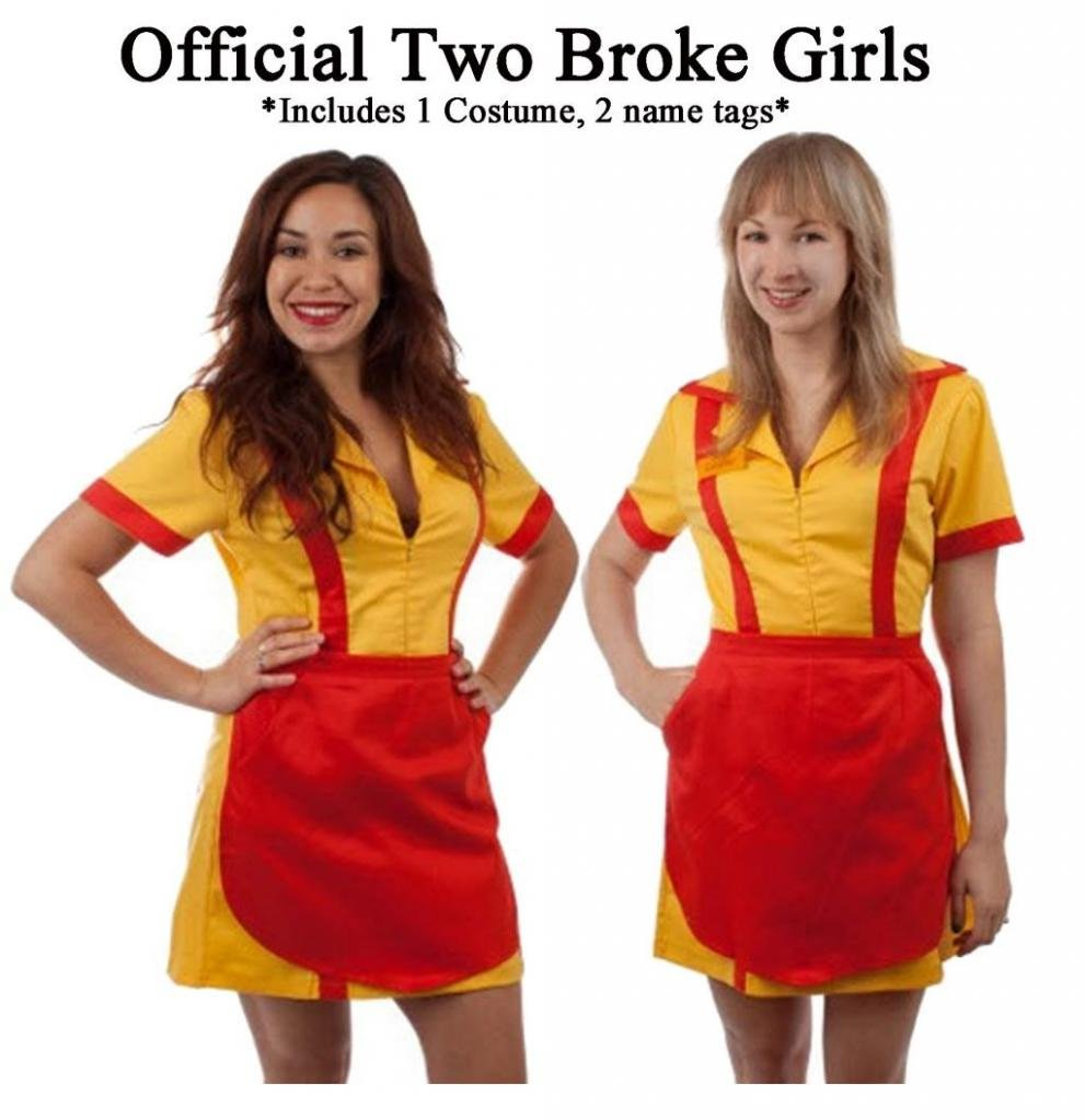 2 Broke Girls Max and Caroline Diner Waitress Costume (Small/Medium)