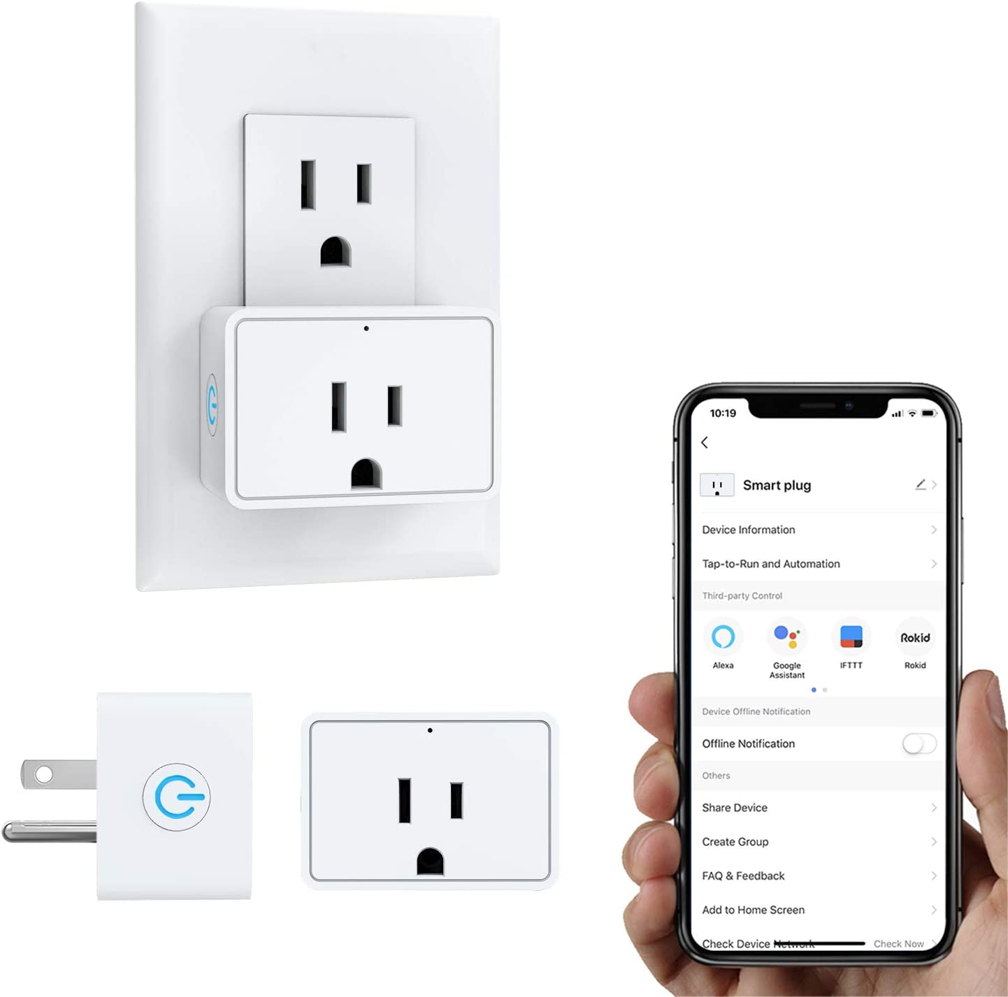 MoKo Smart Plug Mini WiFi Outlet, 2 Pack, Work with Alexa/Google Home/SmartThings, Voice/Remote Control, Timer Plug, Current Measurement & Monitoring, 16A, No Hub, Only Supports 2.4GHz Networ, White