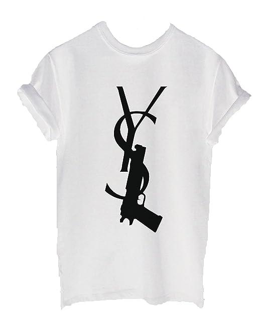 Nuevo Unisex YSG pistola camiseta Top penal Dope Swag Homies Vogue daños Tumblr blanco blanco 20: Amazon.es: Ropa y accesorios