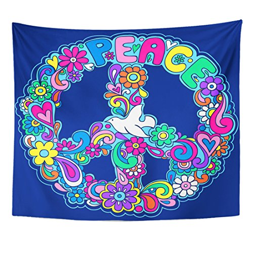 Tapestry Retro Psychedelic Peace Sign - hippie wall decor