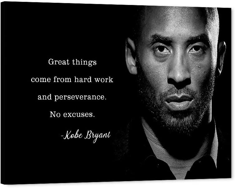 "Kobe Bryant Quotes Canvas Wall Art NBA LA Lakers Kobe Inspirational Quotes Poster, NBA Super Star Framed Artwork for Home Wall Decor, Black Manba Canvas Print for Men Boys Room Office Decor(18""Wx24""H)"