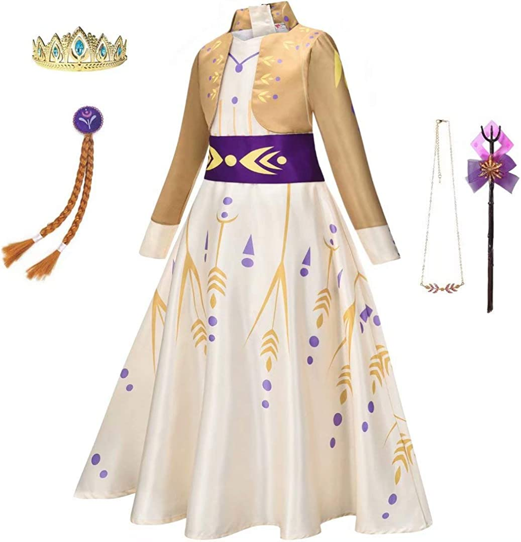 Girls Yellow Princess Costume Outfit Kid Ice Role Cosplay Birthday Party Apparel Snow Queen Act 2 Dress