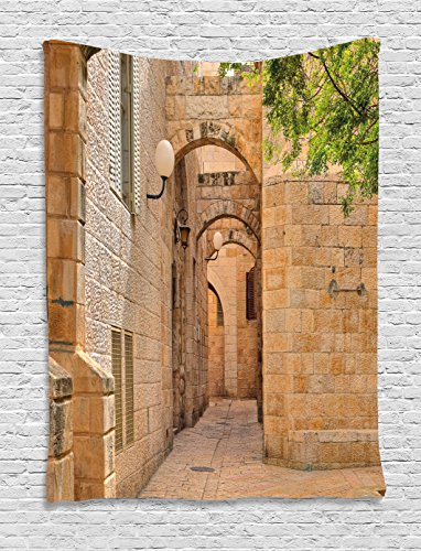 Tapestry, East Orient Israel Jerusalem Architecture Streets Houses Ancient Image Art Photo, Wall Hanging for Bedroom Living Room Dorm, 60WX80L Inches, Multicolor ()