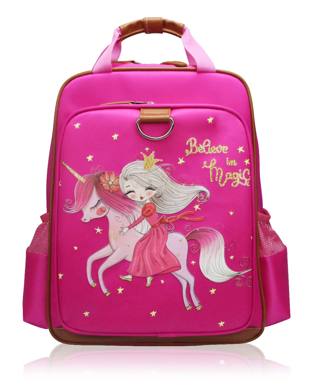 Girls Backpack Unicorn 15''| Pink Kids School Bag for Kindergarten or Elementary (Pink Princess) by JOJOOKIDS