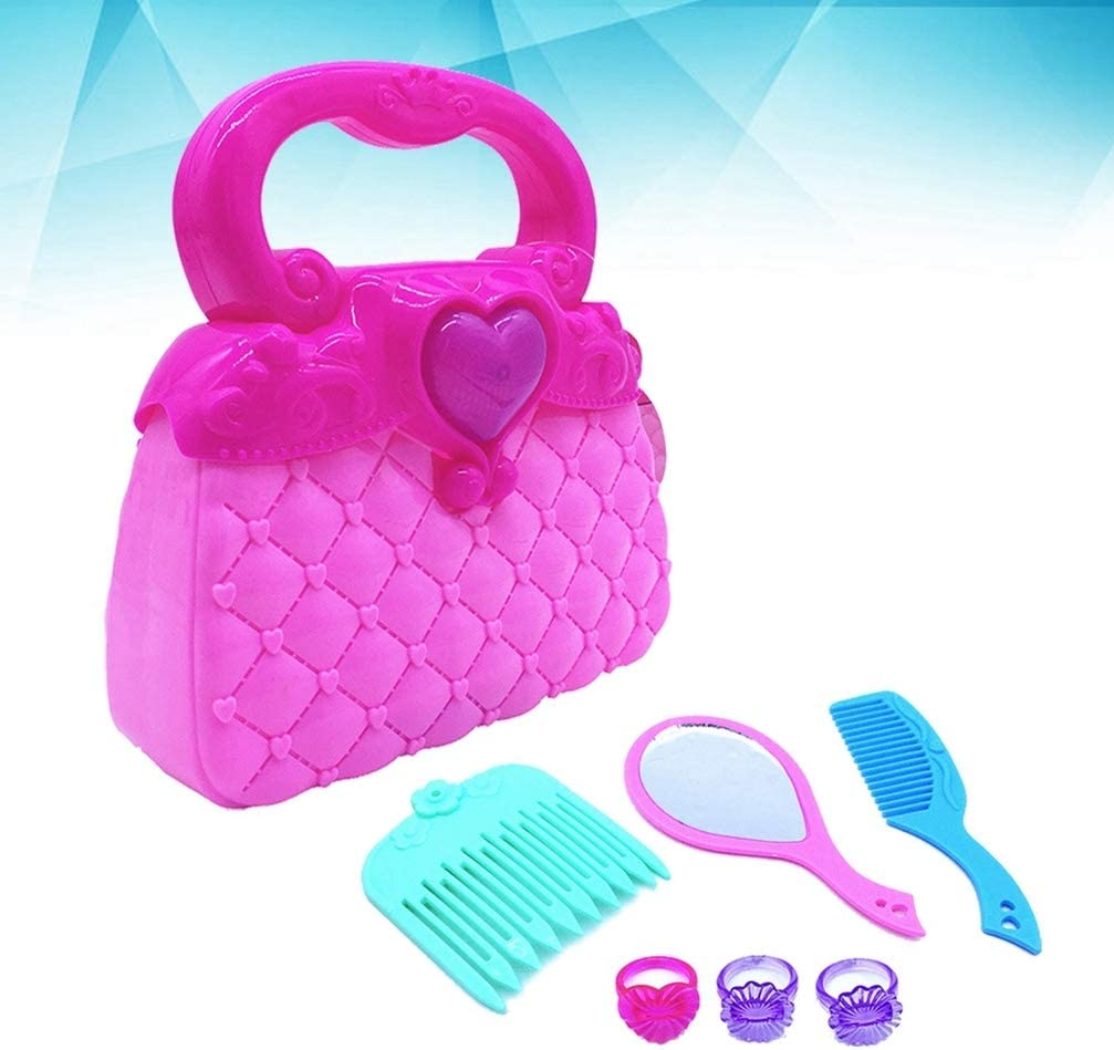 Tomaibaby 1Pc Pretending Playset Plastic Cute Lightweight Pretend Purse Toy Set Handbag Toy with Every Day Accessories for Toddlers Kids