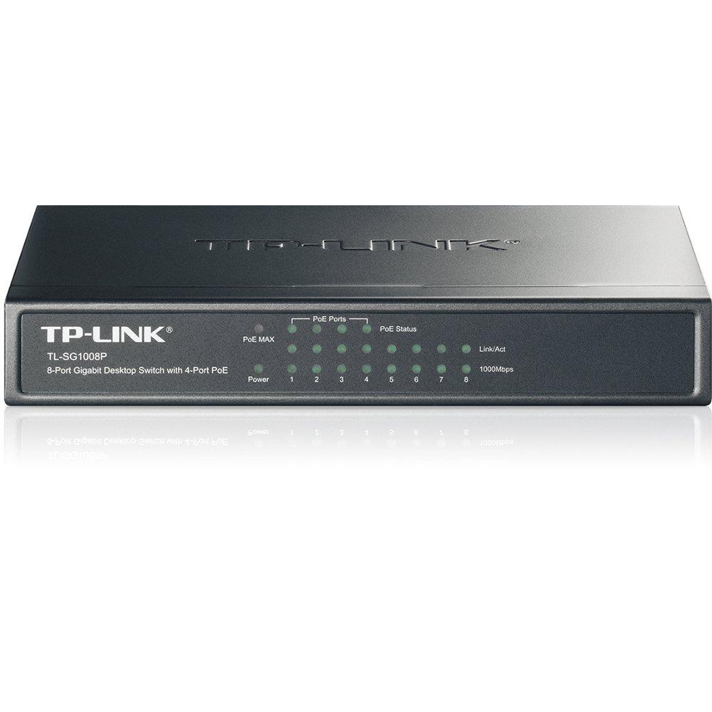 TP-Link 8-Port Gigabit Ethernet PoE Desktop Switch with 4-PoE Ports, IEEE 802.3af compliant (TL-SG1008P) by TP-Link