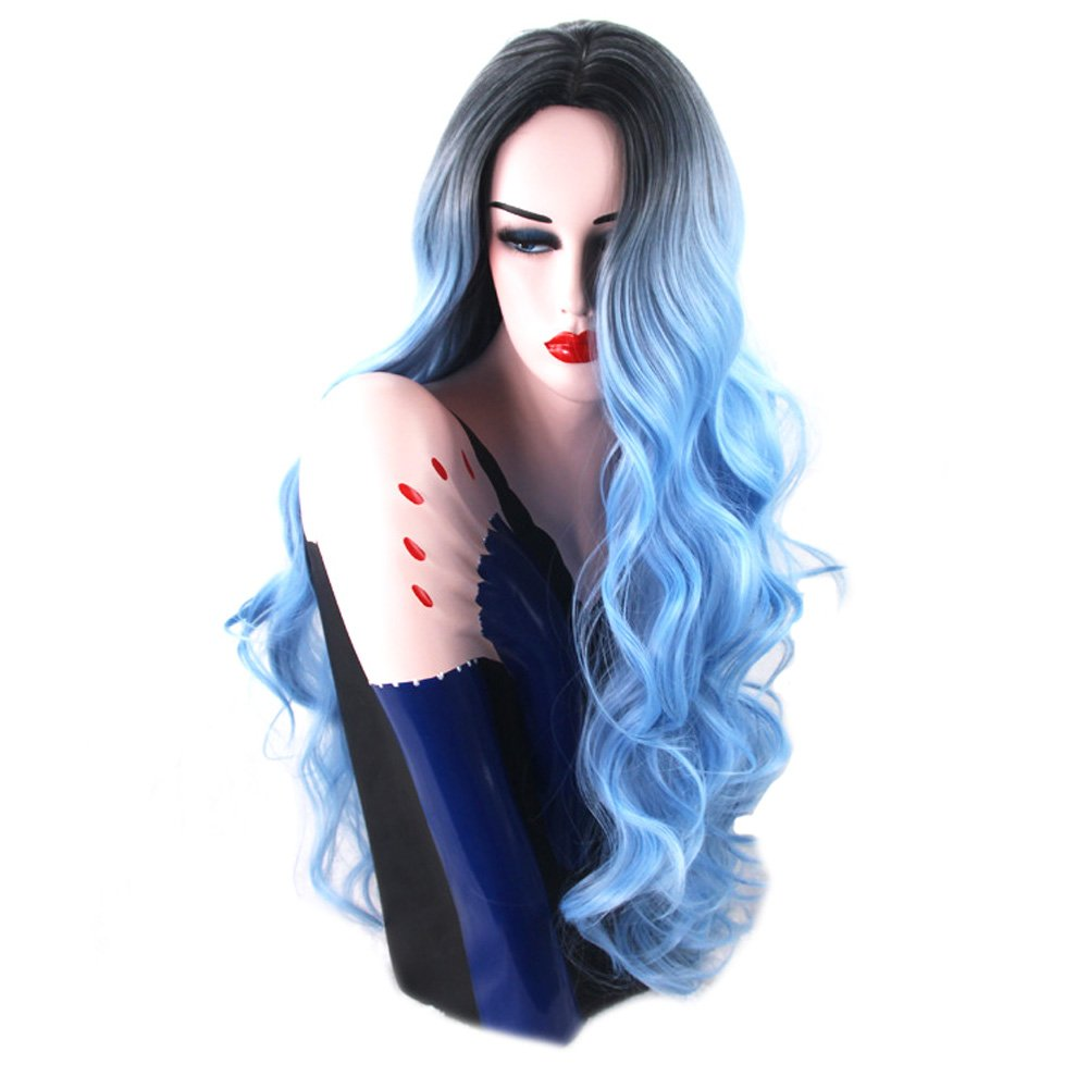 BlueSpace Wigs 28 Women Girls Long Curly Hair Heat Resistant Fiber With Free Wig Cap Halloween Cosplay Costume Party Anime Wigs (White/Gray)
