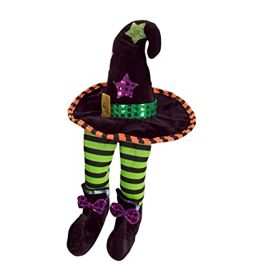 "Melrose 14"" Decorative Plush Green and Black Witch Hat Shelf Sitter Halloween Decoration: Toys & Games"