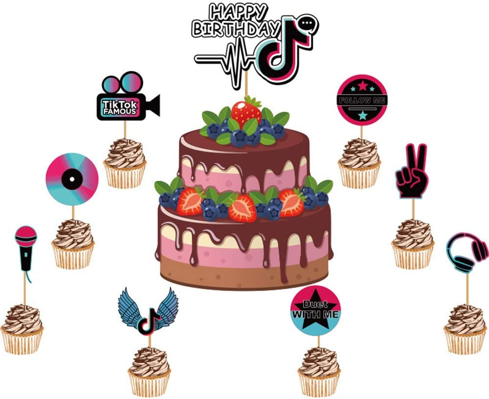 Tik Tok Happy Birthday Cake Topper, Hot Music Note Themed Topper Celebrate Birthday Cupcakes Topper, Party decor Decorations,Set of 9