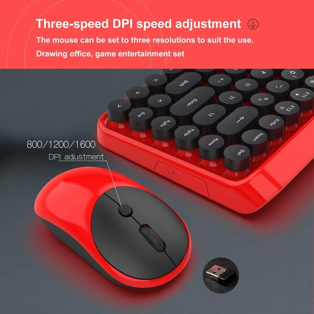 Color: Red SeSDY Gaming Keyboard 2.4G Wireless Keyboard and Mouse Set Wireless Keyboard Mouse Business Office English 3 File DPI Adjustable