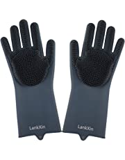 LankXin Magic Silicone Non-slip Scrubbing Gloves,Heat Resistant for Dishwashing,Kitchen Bathroom Cleaning,Car Washing and Pet Grooming (Gray)