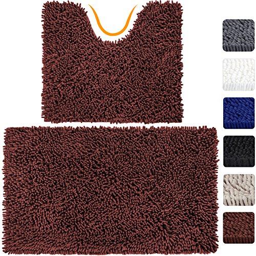 VDOMUS Microfiber Bathroom Contour Rugs Combo, Set of 2 Soft