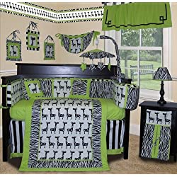 SISI Boutique - Lime Zebra 15 Pcs Unisex Bedding Nursery Crib Set
