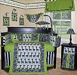 SISI Baby Boy Boutique - Lime Zebra 15 Pcs Baby Bedding Nursery Crib Set