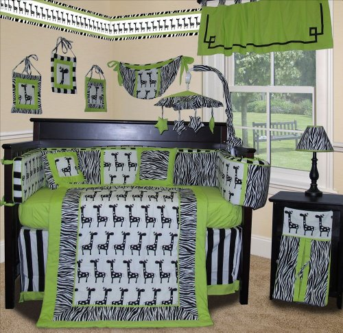 SISI Baby Boy Boutique - Lime Zebra 13 Pcs Baby Bedding Nursery Crib Set