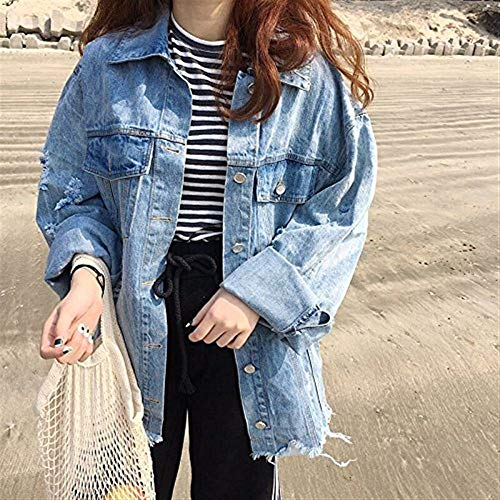 Giaccone Bavero Autunno Strappato Blu Anteriori Jeans Donna Lunga Elegante Baggy Giubbino Outerwear Di Tasche Single Chic Cute Giovane Moda Giacche Manica Primaverile Breasted txzw7qYz