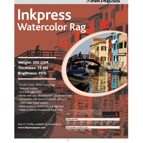 (Inkpress LT851125 Fine Art Watercolor Rag 200 8.5in. X 11in. 25 Sheets)