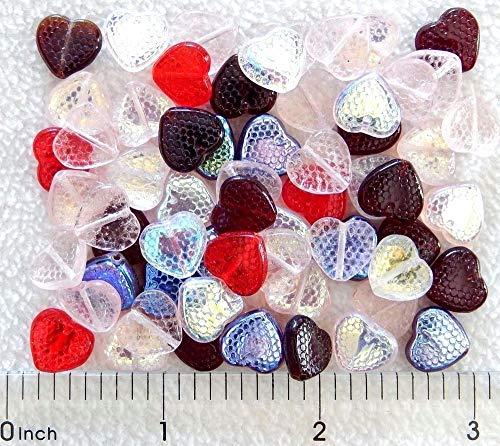 (60 Preciosa Czech Glass 10mm Honeycomb Pale Rose AB Ruby Garnet Red Heart Beads)