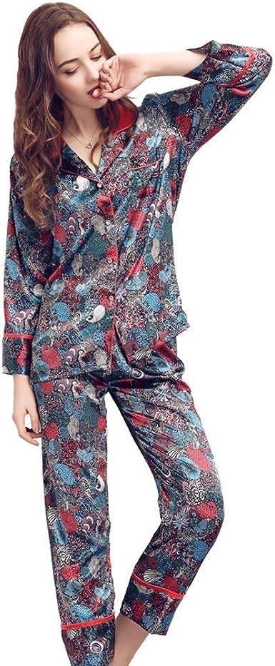 Conjunto De Pijama De Seda para Pijamas Mujer Vintage Ropa De ...