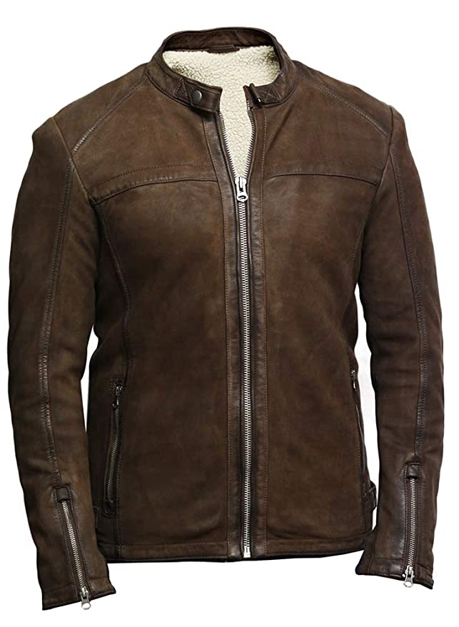 98fb1674f94f Brandslock Hommes Cuir véritable Motard Veste Suède  Amazon.fr  Vêtements  et accessoires
