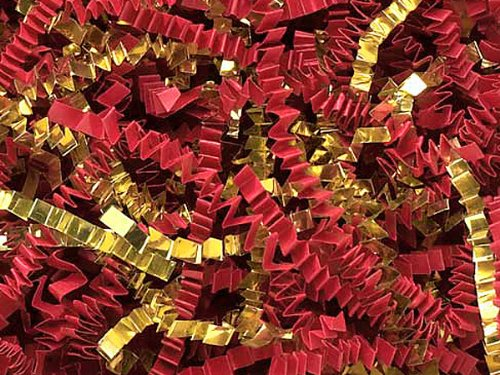 Red & Gold Crinkle Cut Paper Shred 10 lb Box ~ Spring-fill Shred - WRAPS-ZF10RG by Miller Supply Inc
