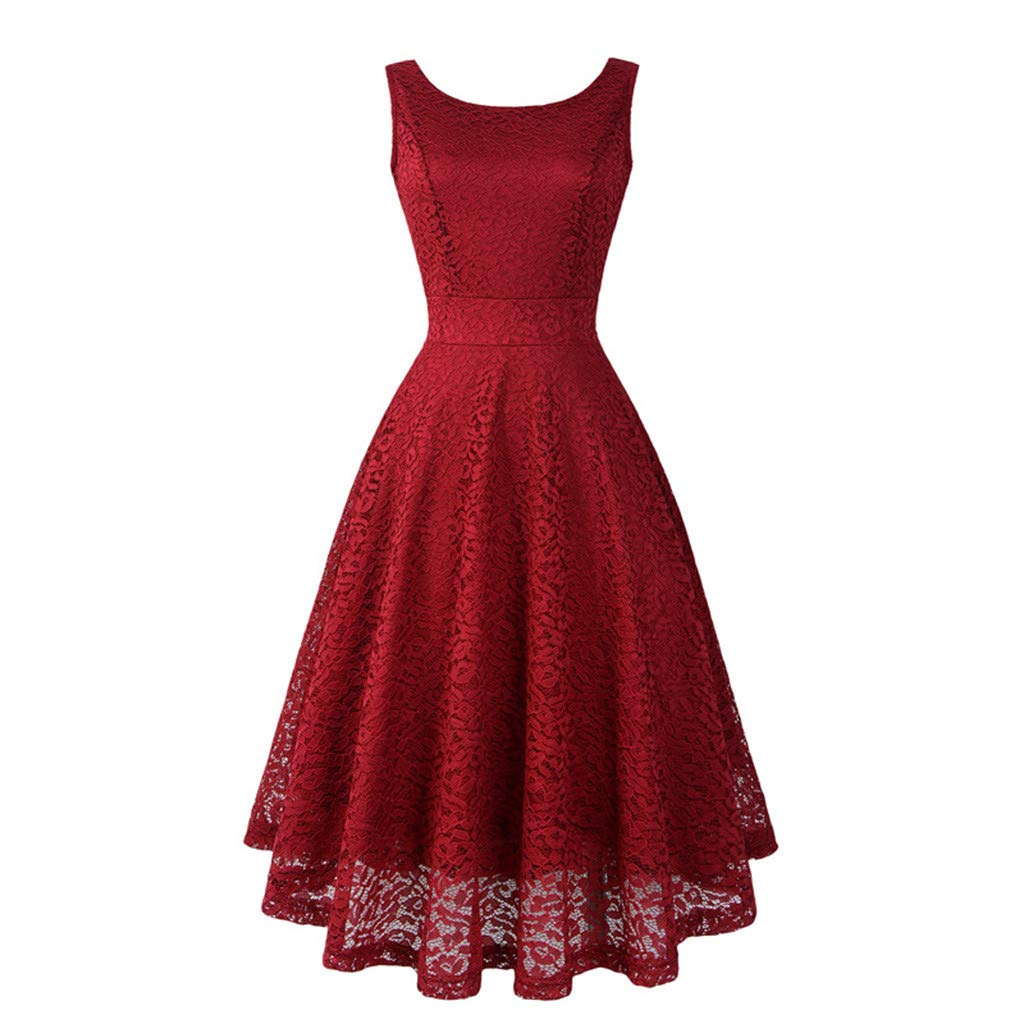 Womens Vintage Lace Solid Spring Vintage Country Rock Cocktail Dress Women Dress Size