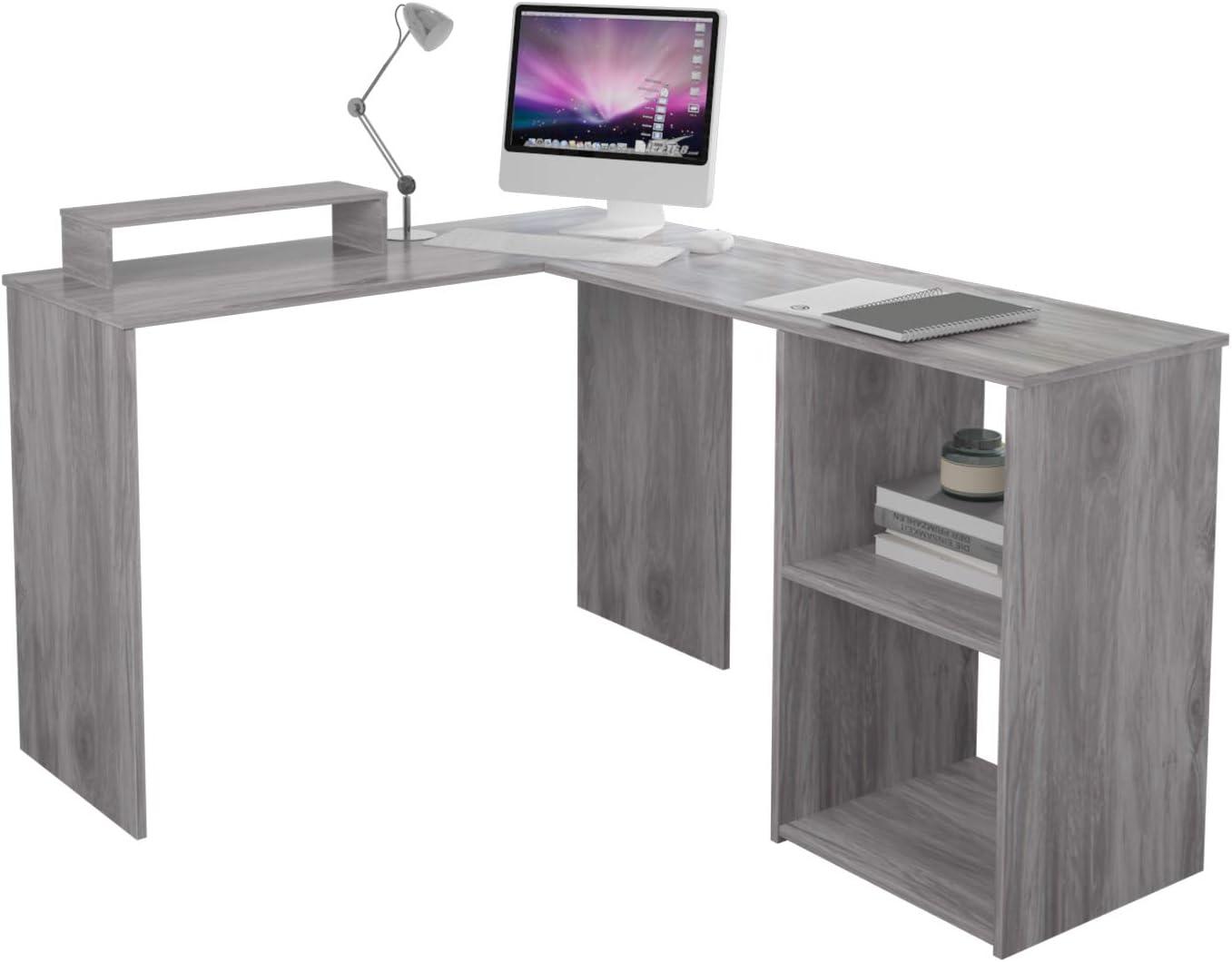 EUCO Escritorio para ordenador, gris de oficina en forma de L, estación de trabajo de madera, escritorio grande para juegos, mesa de estudio para hogar/oficina, 135 x 112 cm