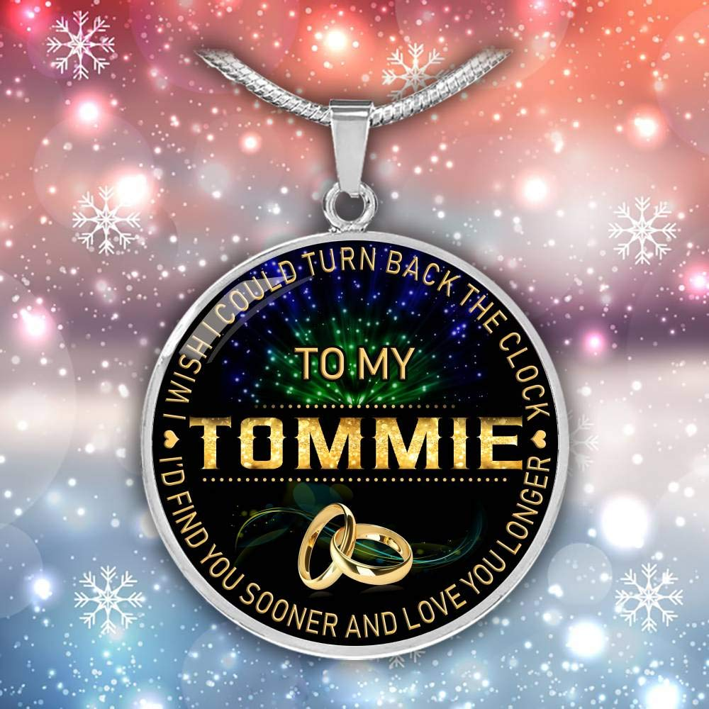 Funnyd Charm Necklace Jewelry Gift for Women 18K Gold Plated HusbandAndWife Gifts Necklace for Mom and Daughter to My Tommie I Wish I Could Turn Back Clock I Will Find You Sooner