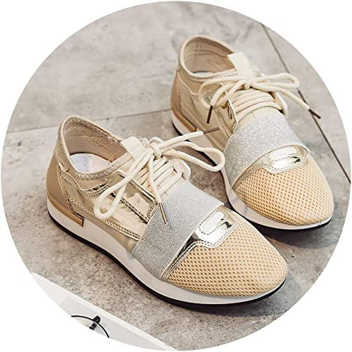 Hju Baskets pour Femme en Cuir synthétique, (Gold Sneakers