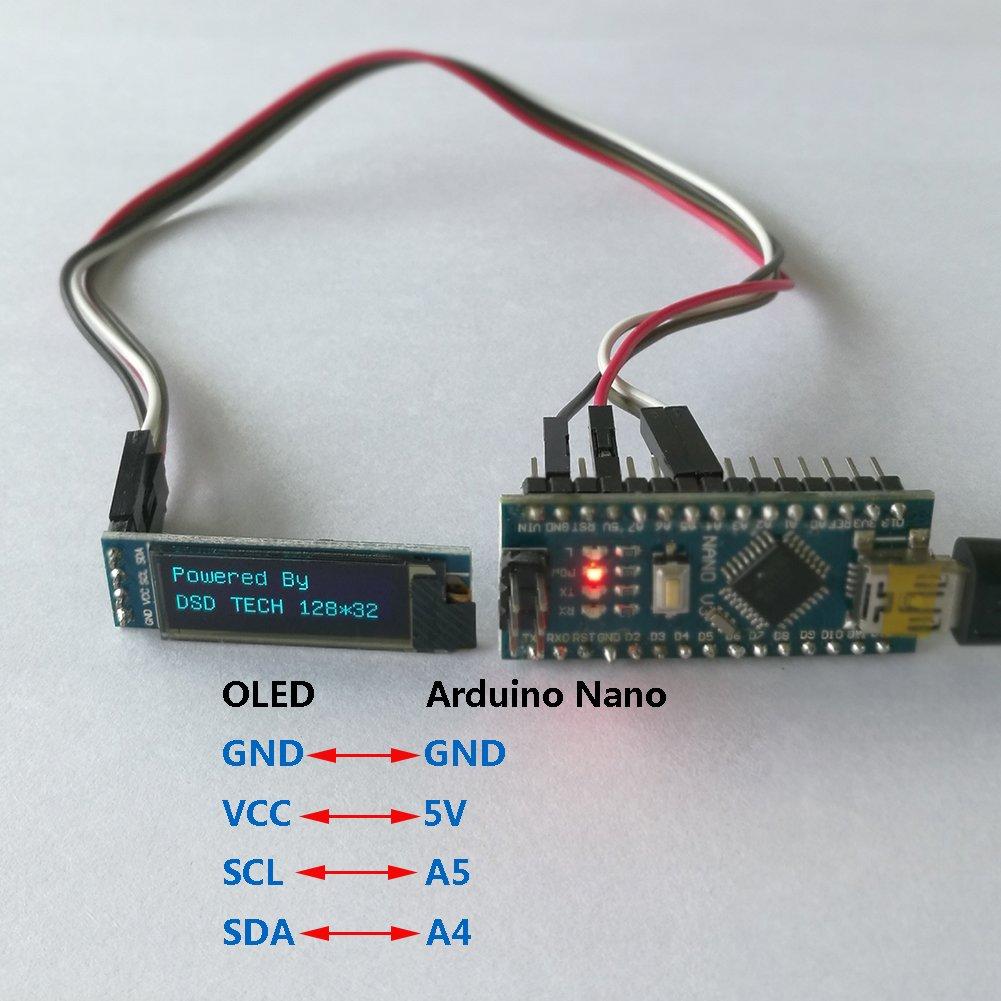 DSD TECH Affichage de 2 PCS IIC OLED 0.91 pouces pour le BRAS dArduino