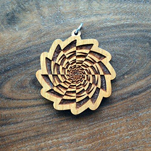 (Checkered Fibonacci Spiral Vortex Pendant - Natural Hardwood - Laser Cut Engraved Sacred Geometry - LT10047)